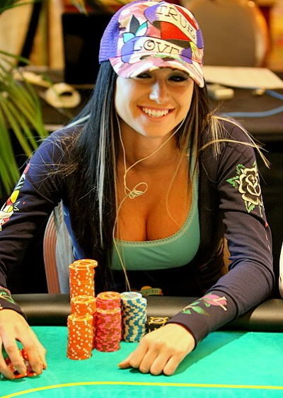 woman play poker